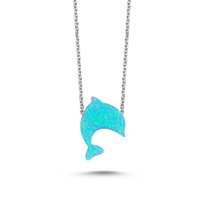 Resim Rodyum Kaplama Açık Mavi Opal Yunus Balığı Kolye