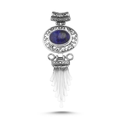 Resim Lapis Lazuli Taşlı El İşi Kolye Ucu