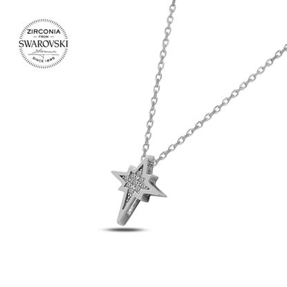 Resim Swarovski Zirkon Taşlı Kuzey Yıldızı Gümüş Bayan Kolye