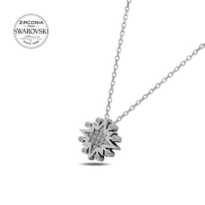 Resim Swarovski Zirkon Taşlı Yıldız Gümüş Bayan Kolye
