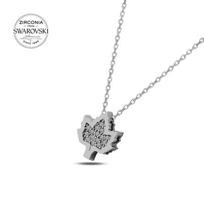 Resim Swarovski Zirkon Taşlı Çınar Yaprağı Gümüş Bayan Kolye