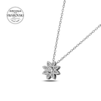 Resim Swarovski Zirkon Taşlı Çiçek Gümüş Bayan Kolye