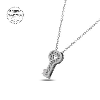 Resim Swarovski Zirkon Taşlı Kalpli Anahtar Gümüş Bayan Kolye