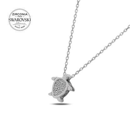 Resim Swarovski Zirkon Taşlı Kaplumbağa Gümüş Bayan Kolye