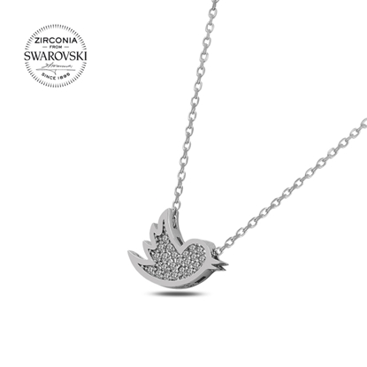 Resim Swarovski Zirkon Taşlı Kuş Gümüş Bayan Kolye