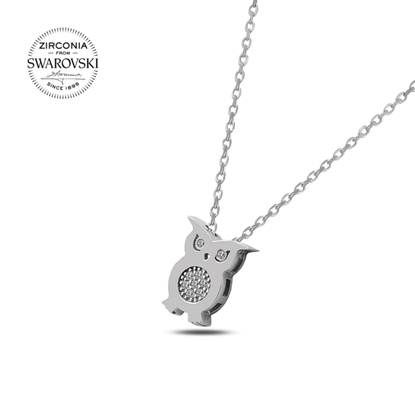 Resim Swarovski Zirkon Taşlı Baykuş Gümüş Bayan Kolye