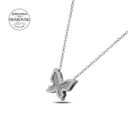 Resim Swarovski Zirkon Taşlı Kelebek Gümüş Bayan Kolye