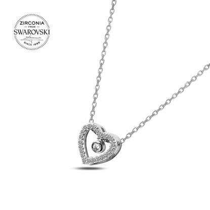 Resim Swarovski Zirkon Taşlı Sallantılı Kalp Gümüş Bayan Kolye