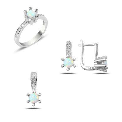 Resim Rodyum Kaplama Opal & Zirkon Taşlı Gümüş Bayan Set