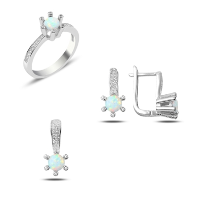 Resim Opal & Zirkon Taşlı Gümüş Bayan Set