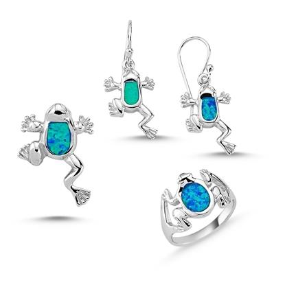 Resim Opal Taşlı Kurbağa Gümüş Bayan Set