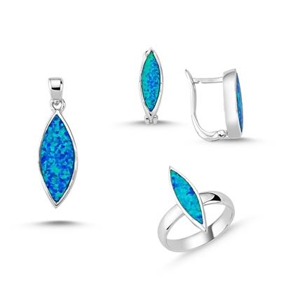 Resim Opal Taşlı Gümüş Bayan Set