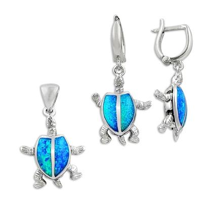 Resim Opal Taşlı Kaplumbağa Gümüş Bayan Set