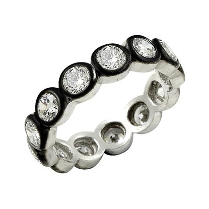 Resim 4mm Yuvarlak Zirkon Taşlı Rodyum Kaplama Kalemli Tamtur Gümüş Bayan Yüzük