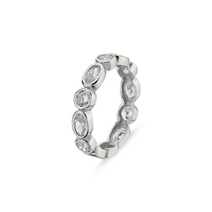 Resim 4mm Yuvarlak & Oval Zirkon Taşlı Tamtur Gümüş Bayan Yüzük