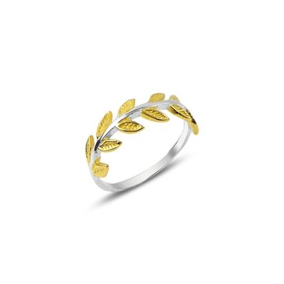 Resim Altın Kaplamalı Defne Yaprağı Gümüş Bayan Yüzük