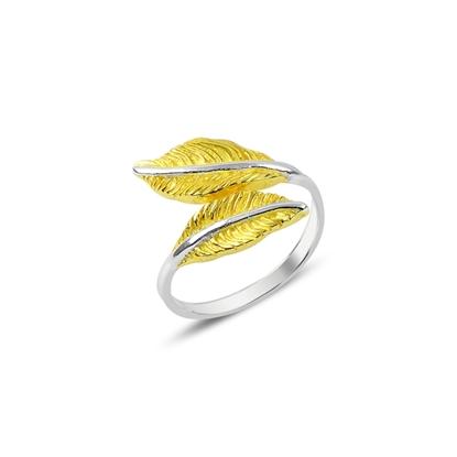Resim Altın Kaplamalı Yaprak Gümüş Bayan Yüzük
