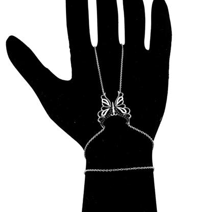 Resim Altın Kaplama Siyah Zirkon Taşlı Kelebek Desenli Gümüş Şahmeran