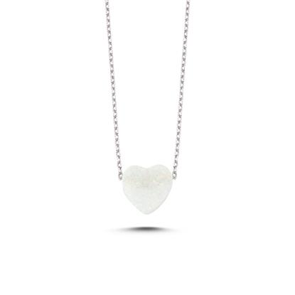 Resim Rodyum Kaplama Opal Taşlı Kalp Gümüş Bayan Kolye