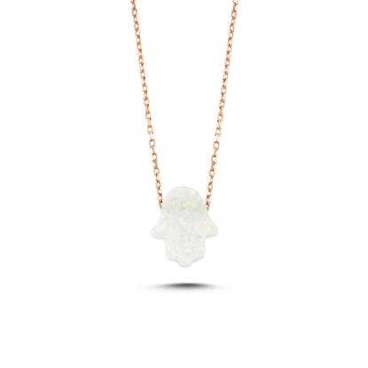 Resim Rose Kaplama Opal Taşlı Fatma Ana Eli Gümüş Bayan Kolye