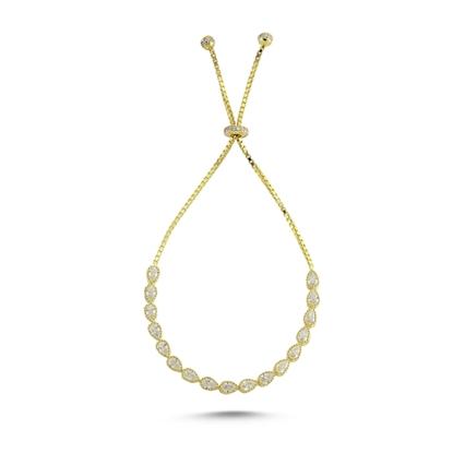 Resim Altın Kaplama Damla Zirkon Taşlı Gümüş Bayan Asansörlü Bileklik