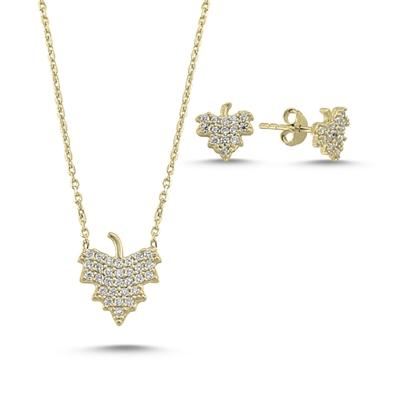 Resim Altın Kaplama Zirkon Taşlı Çınar Yaprağı Gümüş Bayan Set