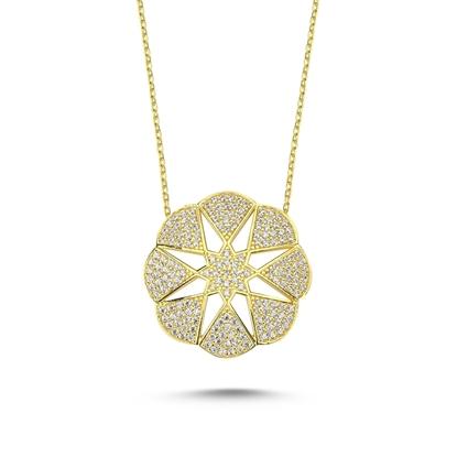 Resim Altın Kaplama Çiçek & Yıldız Gümüş Bayan Hayalet Kolye