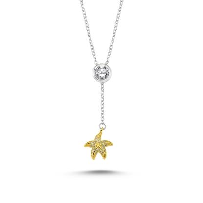 Resim  Altın Kaplama Zirkon Taşlı Deniz Yıldızlı Sallantı Boyu Ayarlanabilir Gümüş Bayan Y Kolye
