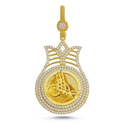 Resim Altın Kaplama Zirkon Taşlı Osmanlı Tuğralı Gümüş Bayan Kolye Ucu