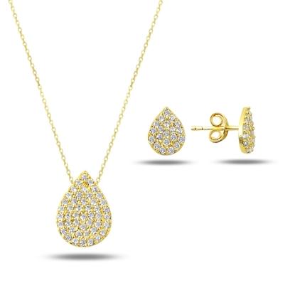 Resim Altın Kaplama Zirkon Taşlı Gümüş Bayan Set