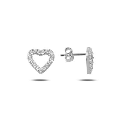 Resim Rodyum Kaplama Zirkon Taşlı Kalp Gümüş Küpe