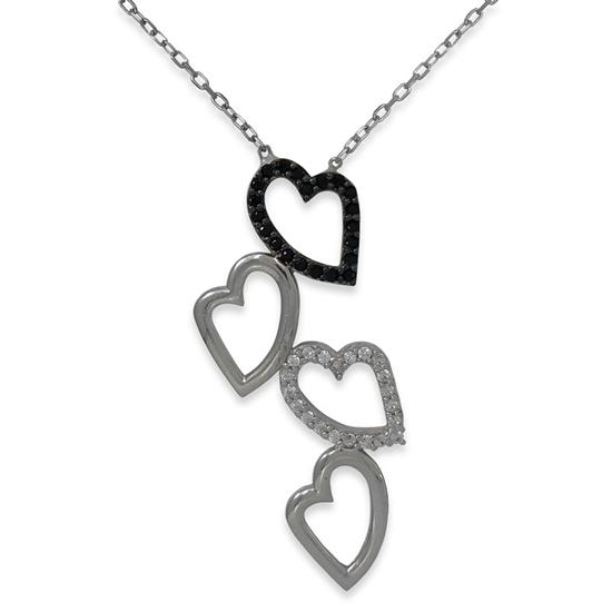 Ürün resmi: Birbirine Bağlı Kalpler Beyaz ve Siyah Zirkon Taş Rodyum Kaplama Gümüş Bayan Hayalet Kolye