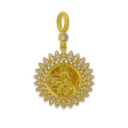 Resim Büyük Güneş ve Küçük Gözler Misali Osmanlı Tuğrası Beyaz Zirkon Taş Altın Kaplama Gümüş Bayan Kolye Ucu