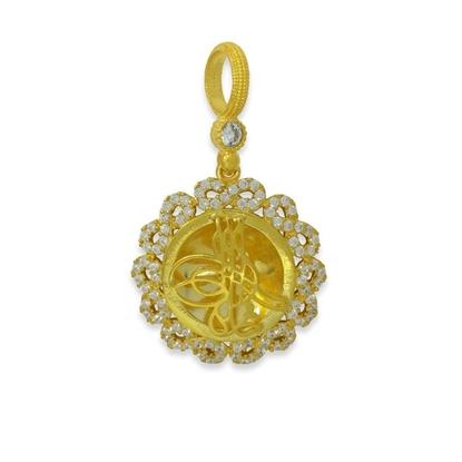Resim Sonsuzluk Misali Osmanlı Tuğrası Beyaz Zirkon Taş Altın Kaplama Gümüş Bayan Kolye Ucu