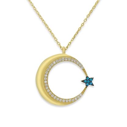 Resim Büyük Ay Yıldız Beyaz ve Turkuaz Zirkon Taş Altın Kaplama Gümüş Bayan Hayalet Kolye