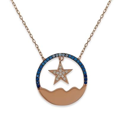 Resim Dalgalı Deniz Ve Yıldız Mavi Tonlu Zirkon Taş Rose Kaplamalı Gümüş Bayan Hayalet Kolye