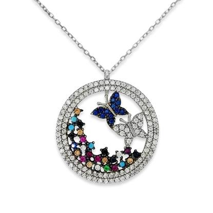 Resim Dünya Kelebekleri Beyaz ve Rengarenk Zirkon Taş Rodyum Kaplama Gümüş Bayan Hayalet Kolye