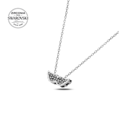 Resim Swarovski Zirkon Taşlı Kanat Gümüş Bayan Kolye