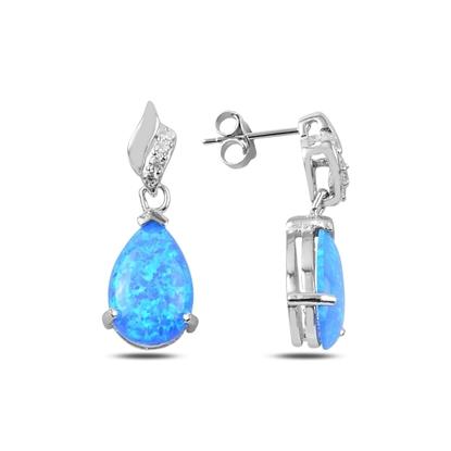 Resim Opal Taşlı Gümüş Sallantılı Küpe