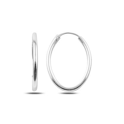 Resim 14x21mm Oval Halka Gümüş Küpe