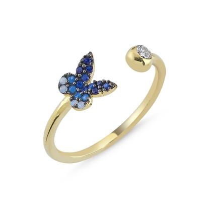 Resim Altın Kaplama Mavi Tonlamalı Nano Taşlı Kelebek Ayarlanabilir Gümüş Bayan Yüzük