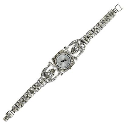 Resim Markazit Taşlı Kaplan Figürlü Saat