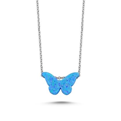 Resim Rodyum Kaplama Açık Mavi Opal Kelebek Gümüş Bayan Kolye