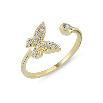 Resim Altın Kaplama Zirkon Taşlı Kelebek Ayarlanabilir Gümüş Bayan Yüzük