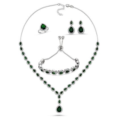 Resim Rodyum Kaplama Zümrüt Zirkon (Yeşil) Zirkon Taşlı Damla Suyolu Gümüş Bayan Set