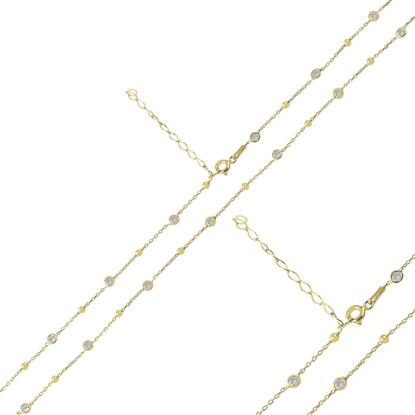 Resim Altın Kaplama 70cm Top & Zirkon Taşlı Forse Gümüş Bayan Zincir Kolye