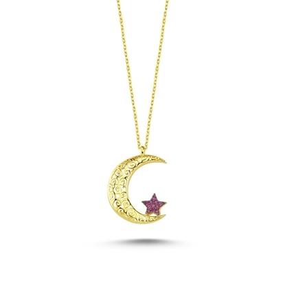 Resim Altın Kaplama Ajur Desenli ve Zirkon Taşlı Ay Yıldız Gümüş Bayan Kolye