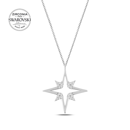 Resim Swarovski Zirkon Taşlı Kutup Yıldızı Gümüş Bayan Kolye