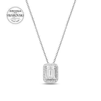 Resim Swarovski Zirkon Taşlı Dikdörtgen Gümüş Bayan Kolye