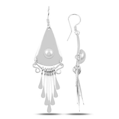 Resim İnci El İşi Sallantılı Gümüş Bayan Küpe